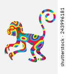 monkey abstract colorfully  art ... | Shutterstock .eps vector #243996181