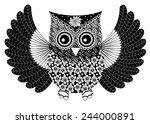 owl doodle vector   Shutterstock .eps vector #244000891