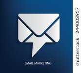 Email Marketing Symbol On Blue...