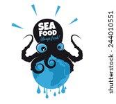 giant cartoon octopus sitting... | Shutterstock .eps vector #244010551
