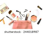 make up bag with cosmetics and... | Shutterstock . vector #244018987