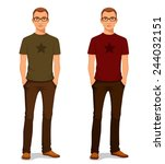 handsome young guy in casual... | Shutterstock .eps vector #244032151