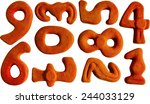 set of red clay numbers... | Shutterstock . vector #244033129