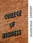 Detail of brick wall on college of business building - stock photo