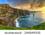 cliffs of moher at sunset  co.... | Shutterstock . vector #244049335