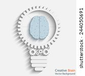 brain with bulb. idea concept.... | Shutterstock .eps vector #244050691