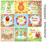 easter greeting cards. set. | Shutterstock .eps vector #244055011