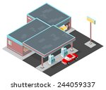 gas station with car refueling  ... | Shutterstock .eps vector #244059337
