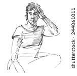 melancholic woman.vector... | Shutterstock .eps vector #244061011