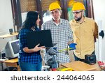 construction worker and couple... | Shutterstock . vector #244064065