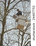 lumberjacks chopping down a tree | Shutterstock . vector #24407752