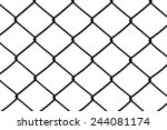 black and white wire mesh fence  | Shutterstock . vector #244081174