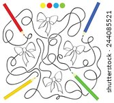 maze game and coloring activity ... | Shutterstock .eps vector #244085521