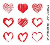 set of red vector hearts | Shutterstock .eps vector #244088521