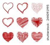 hand drawn sketch hearts for... | Shutterstock .eps vector #244091995