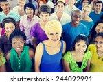 Multi Ethnic Crowd Teenager...