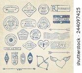 vector romantic postage stamp... | Shutterstock .eps vector #244097425