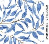 Blue Leaves Vector Watercolor...
