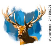 Deer Head Realistic Hand Drawn...