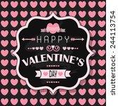 happy valentine's day   flat...   Shutterstock .eps vector #244113754