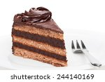 piece of chocolate cake on... | Shutterstock . vector #244140169