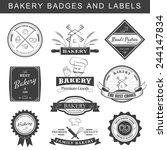 setof vintage retro bakery logo ... | Shutterstock .eps vector #244147834