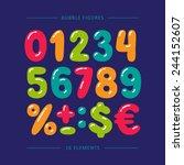 cartoon doodle numbers.... | Shutterstock .eps vector #244152607