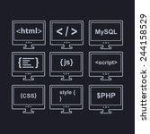 web development line icons as... | Shutterstock .eps vector #244158529