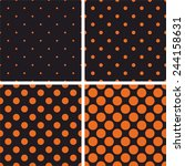 Orange Polka Dots On Black...