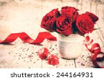 Stock photo valentine s setting with bouquet of red roses and chocolate 244164931