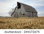 a barn scene on a farm in iowa.   Shutterstock . vector #244172674