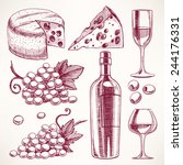 set with a bottle and glasses... | Shutterstock .eps vector #244176331