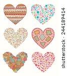 set of vector doodle hearts for ...   Shutterstock .eps vector #244189414