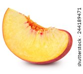 peach slice isolated on white... | Shutterstock . vector #244189471