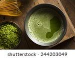 Stock photo organic green matcha tea in a bowl 244203049