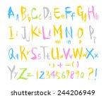 alphabet   hand drawn in vector ... | Shutterstock .eps vector #244206949