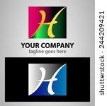 letter h logo symbol design... | Shutterstock .eps vector #244209421