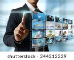businessmen and reaching images ...   Shutterstock . vector #244212229