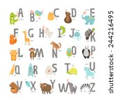 Cute Vector Zoo Alphabet With...