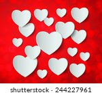 white heart paper sticker with... | Shutterstock .eps vector #244227961
