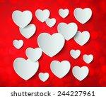 white heart paper sticker with... | Shutterstock .eps vector #244227961