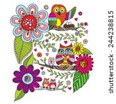 owls with flower doodle vector | Shutterstock .eps vector #244238815
