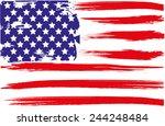 grunge brush of american flag | Shutterstock . vector #244248484