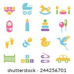 simple colored children toys... | Shutterstock . vector #244256701