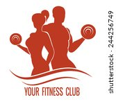 fitness logo with muscled man