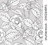 seamless pattern camelia black  ... | Shutterstock .eps vector #244264891
