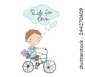 young boy with bike. cute... | Shutterstock .eps vector #244270609