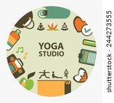 yoga studio emblem. | Shutterstock .eps vector #244273555