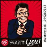 i want you  retro businessman... | Shutterstock .eps vector #244280965