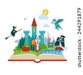 set open fantasy book about... | Shutterstock .eps vector #244291879